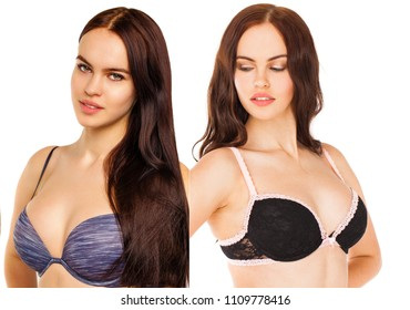 Collage two sexy models. Young sexy brunette women in bra, isolated on white background