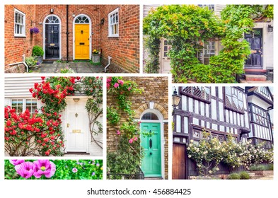 collage from typical english doors and windows