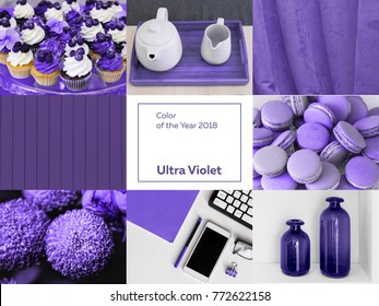 Collage with ultra violet color of the year 2018 pantone