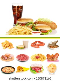 Collage of  unhealthy food