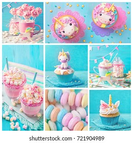 Collage with unicorn sweets for a party