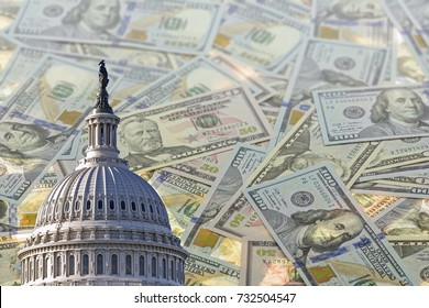 collage with US capitol Building and American dollars on blurred background