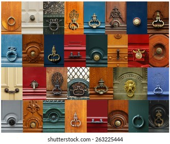 Collage of a variety of knockers and handles on doors in Paris, France.