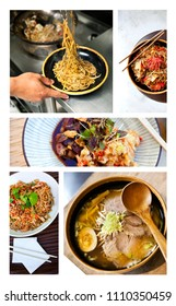 Collage of various asian dishes in restaurants