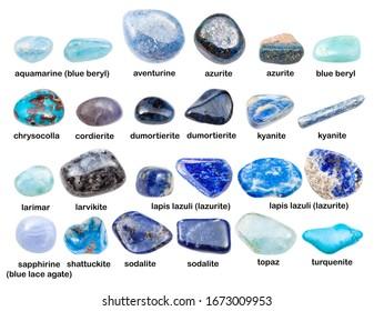 collage of various blue gemstones with names (shattuckite, kyanite, topaz, lazurite, turquenite, aquamarine, dumortierite, sodalite, larvikite, larimar, cordierite, azurite, etc) isolated on white