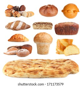Collage of various bread isolated on white