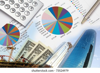 Collage of various business elements. Dollar, stocks, sky, building