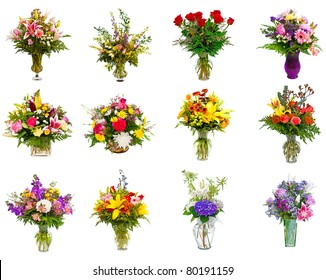 Collage of various colorful flower arrangements as bouquets in vases and baskets