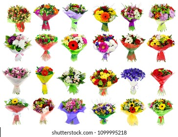 Collage of various colorful flower, set of bouquets isolated on white
