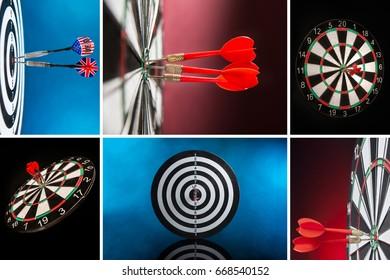 Collage of a various darts photos