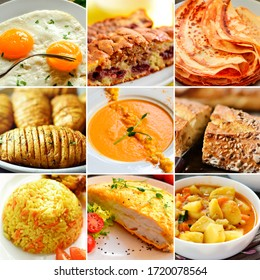 Collage of various dishes. A varied menu. Tasty food. Collage with yellow food. Potatoes. Fried eggs. Soup.