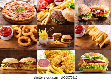 collage of various fast food products