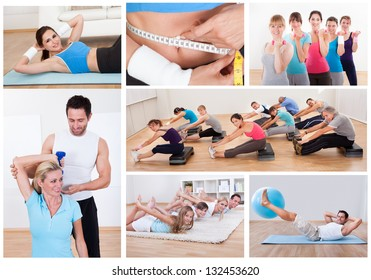 Collage of various fitness images with people exercising