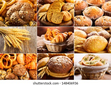 collage of various fresh bread