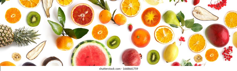 collage of various fresh fruits isolated on white background, top view, flat lay, banner. Composition of food, concept of healthy eating. Food texture.