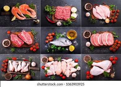 collage of various fresh meat, chicken and fish, top view