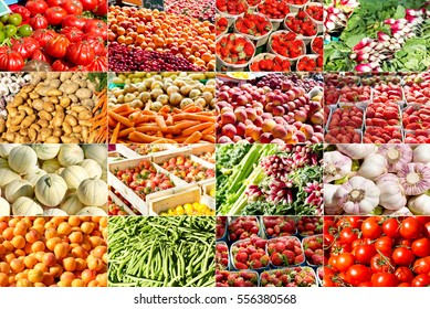 collage of various fruits and vegetables in a farmers market