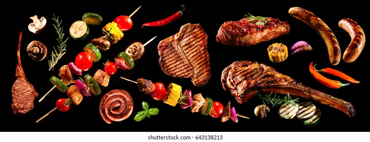 Collage of various grilled meat and vegetables on black background