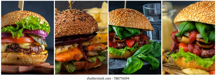 Collage of various hamburgers