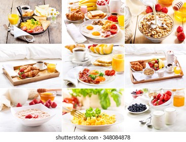 collage of various healthy breakfast
