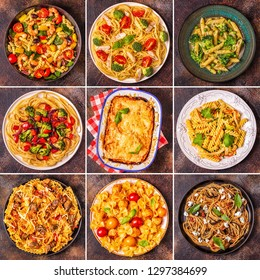 Collage of various pasta dishes, top view.