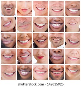 Collage of various pictures of people smiling