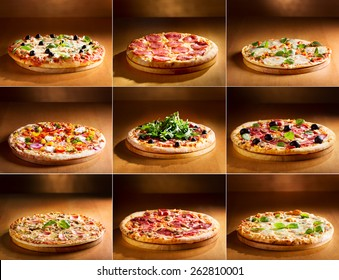 collage of various pizza