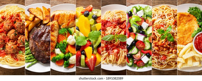 collage of various plates of food on a wooden background, top view