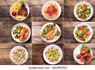 collage of various plates of meat, fish and chicken on wooden background, top view