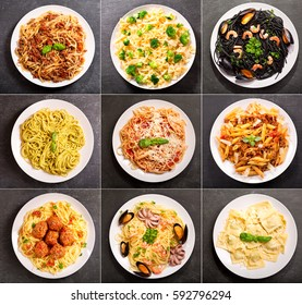 collage of various plates of pasta on dark background, top view