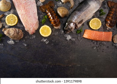 A Collage of Various Seafood Items From a Fishmonger or Fish Market
