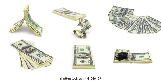 collage of various shots of dollar batches over white background