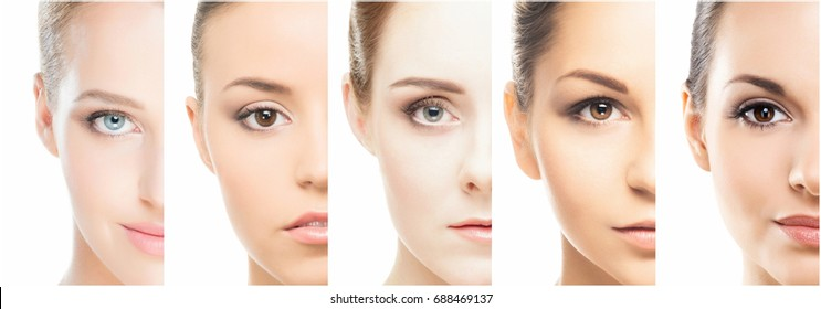 Collage of various spa female portraits. Face lifting, skincare, plastic surgery and make-up concept.