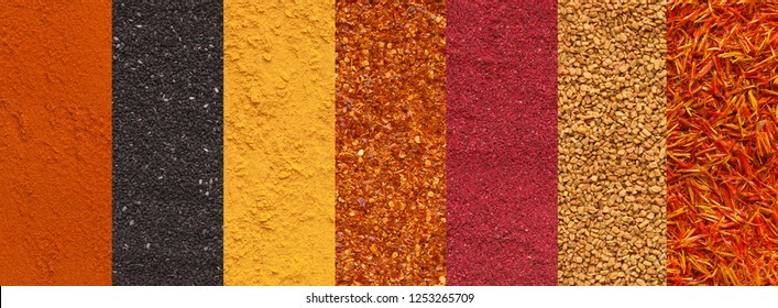 Collage of various spices and condiments as background, aromatic ingredients assortment, panorama