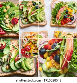 Collage of vegan sandwiches. Plant-based diet. Vegetarian healthy food concept. Clean eating.