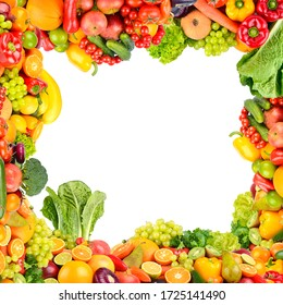 Collage of vegetables and fruits in form of square frame isolated on white background.