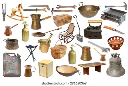 collage with very old objects isolated  over white background