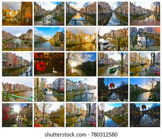 The collage from views of Amsterdam canal and bridge with typical dutch houses, boats and bicycles.
