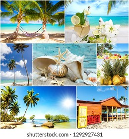 Collage from views of the Caribbean beaches, amazing landscape of Samana, Dominican Republic, with hammock, shells, palm trees, a Caribbean house, flowers, ocean, waves, sky, sun and clouds
