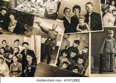 A collage of vintage photo of the 20th century. Soviet Union