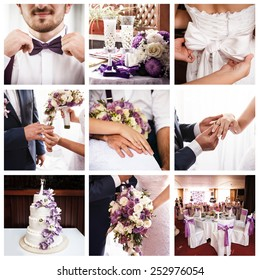 Collage of wedding day photos