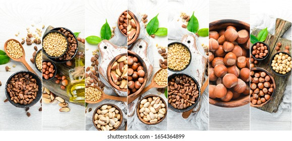 Collage. White background of nuts. Assortment of nuts.