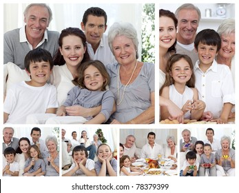 Collage of a whole family sharing moments together at home