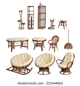 collage of wicker furniture on an isolated white background