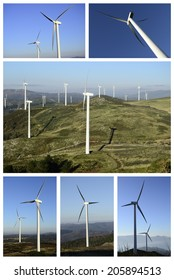 Collage wind and clean energy. Industrial business