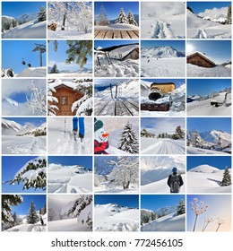 collage of winter vacation in the snow in square size