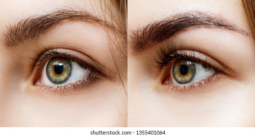 Collage of woman before and after extended eyelashes and eyebrows correction.