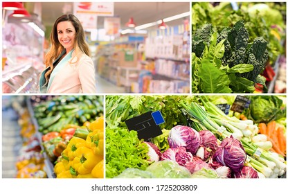Collage with woman and female hand who chooses vegetables in supermarket. Concept of healthy food, bio, vegetarian
