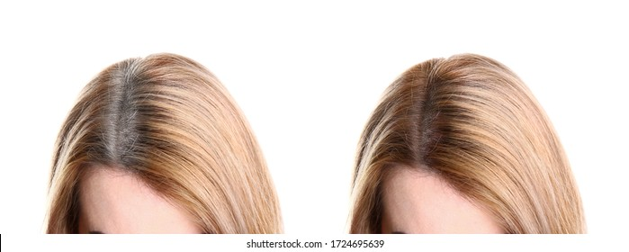 Collage of woman with grey hair before and after coloring on white background, closeup. Banner design