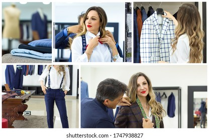 Collage with woman and man in tailor shop and custom-made clothes looks for a dress, measures a shirt and a bow tie. Concept of: tailoring, businessman, elegance
